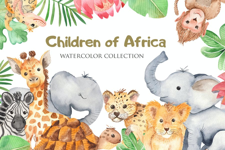 Watercolor African animals and plants