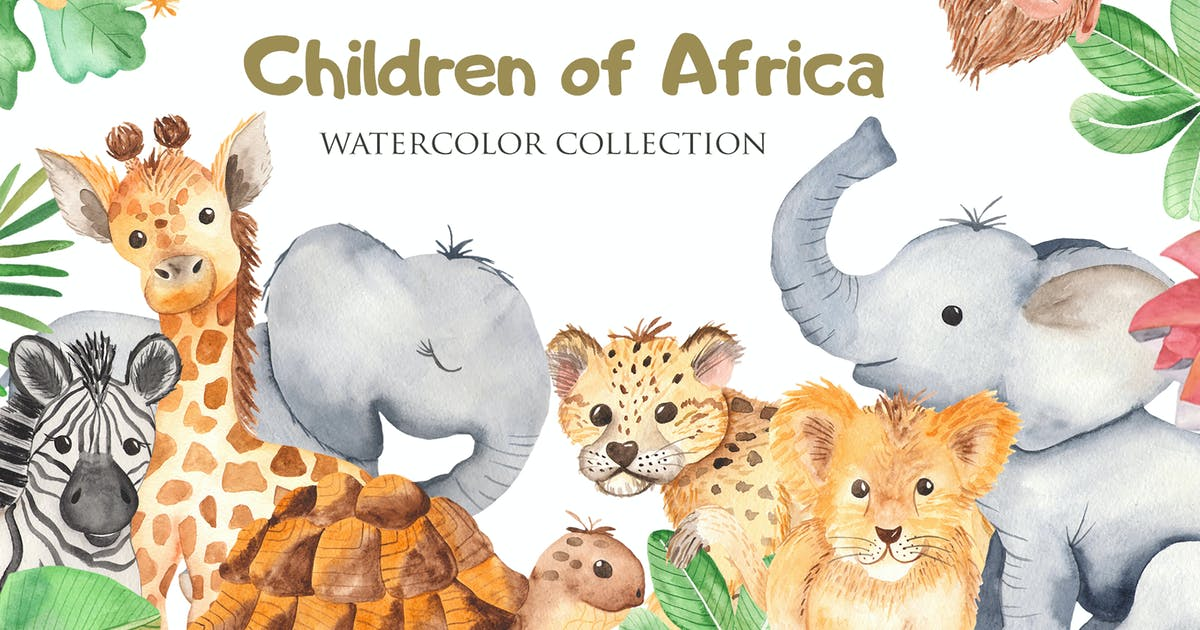 Download Watercolor African animals and plants by MarinaErmakova