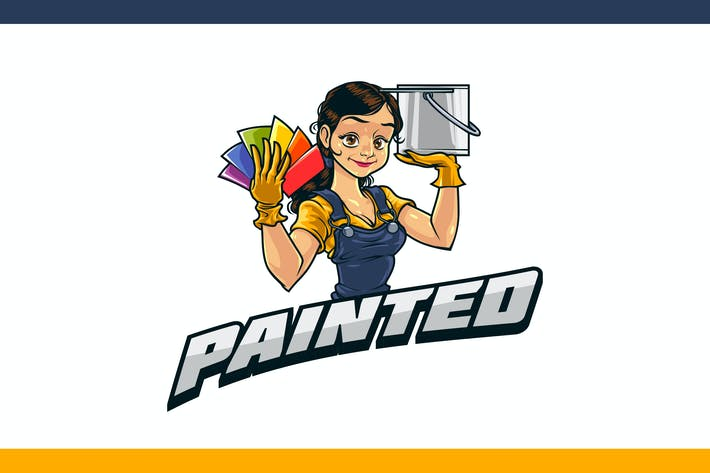 Thumbnail for Cartoon Professional Female Painter Mascot Logo