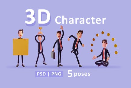 Businessman - 3d character set