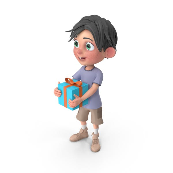 Thumbnail for Cartoon Boy Jack Holding Present