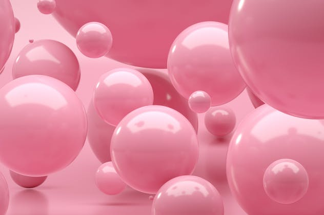Light pink spheres with different sizes