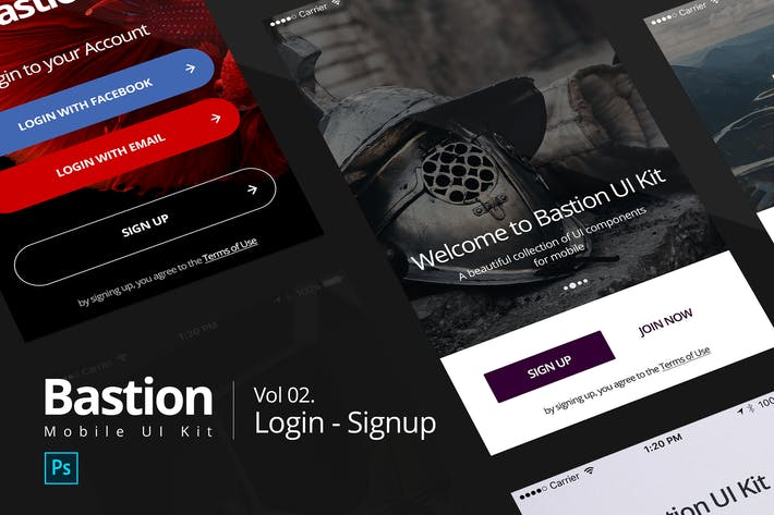 Thumbnail for Bastion Mobile UI Kit | #02 Login-Signup