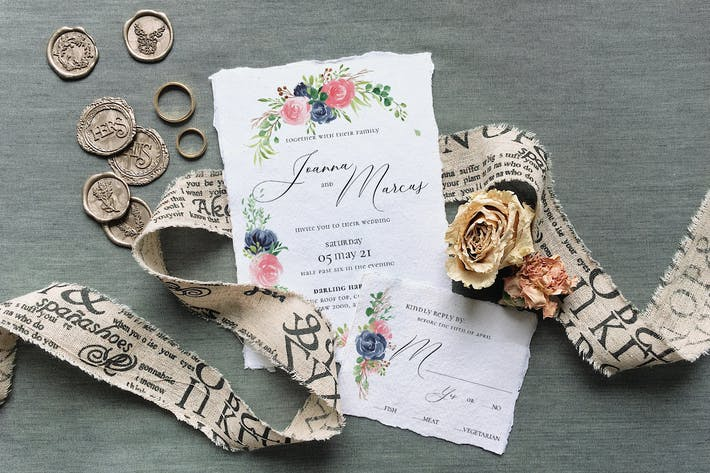 Thumbnail for Rose & Blue Wreath Wedding Suite