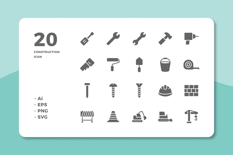 20 Construction Icons (Solid)