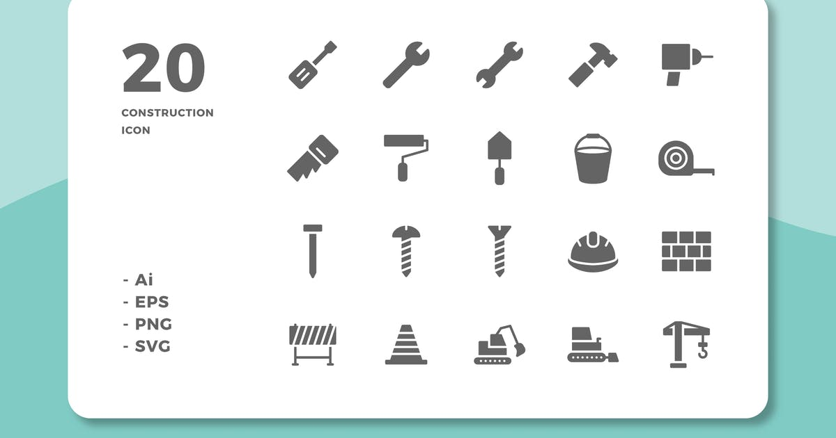 Download 20 Construction Icons (Solid) by deemakdaksinas