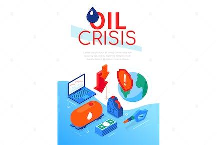Ölkrise - moderne bunte isometrische WebBanner