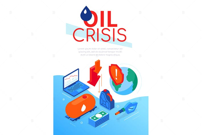 Oil crisis - modern colorful isometric web banner