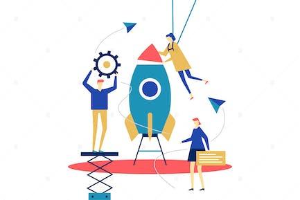 Startup - flat design style illustration