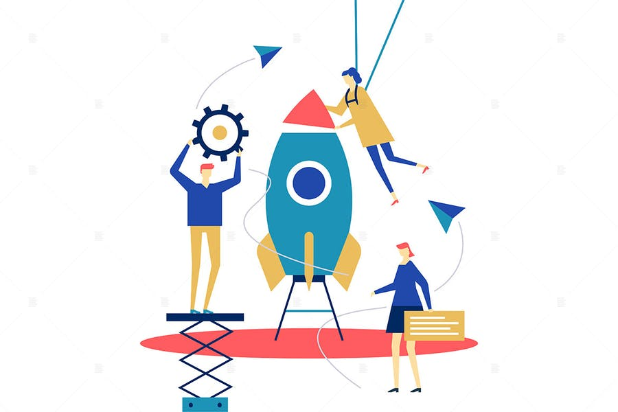 Startup - flache Design-Stil Illustration