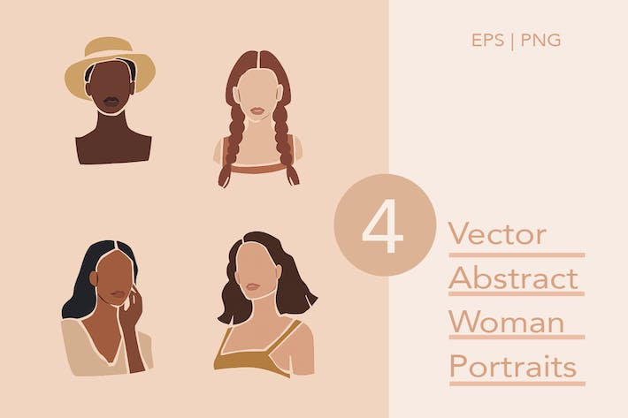 Thumbnail for Vector Abstract Woman Portraits