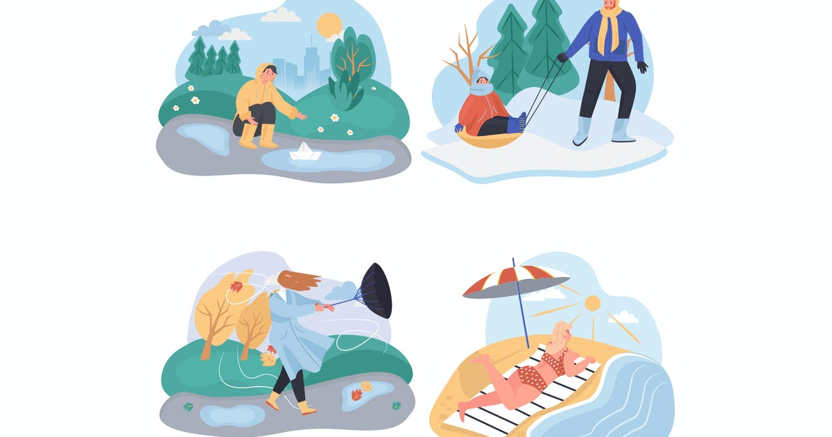 Download Different Weather Conditions Concept Scenes Set by DesignSells