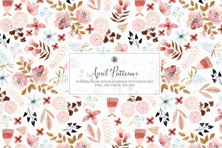 April Patterns - watercolor patterns set