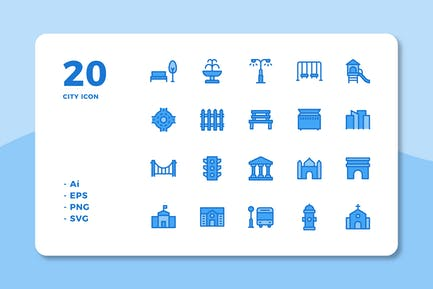 20 City Icons (Lineal Color)