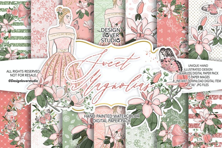 Thumbnail for Sweet Magnolias digital paper pack