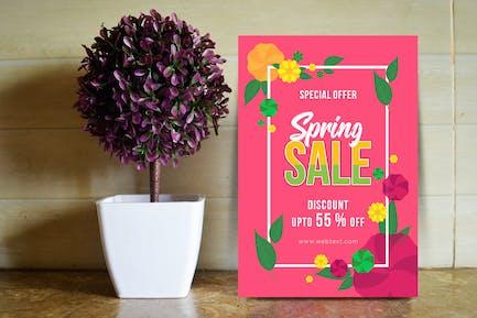 Retro Rosa Frühlingsposter mit Blumenrahmen