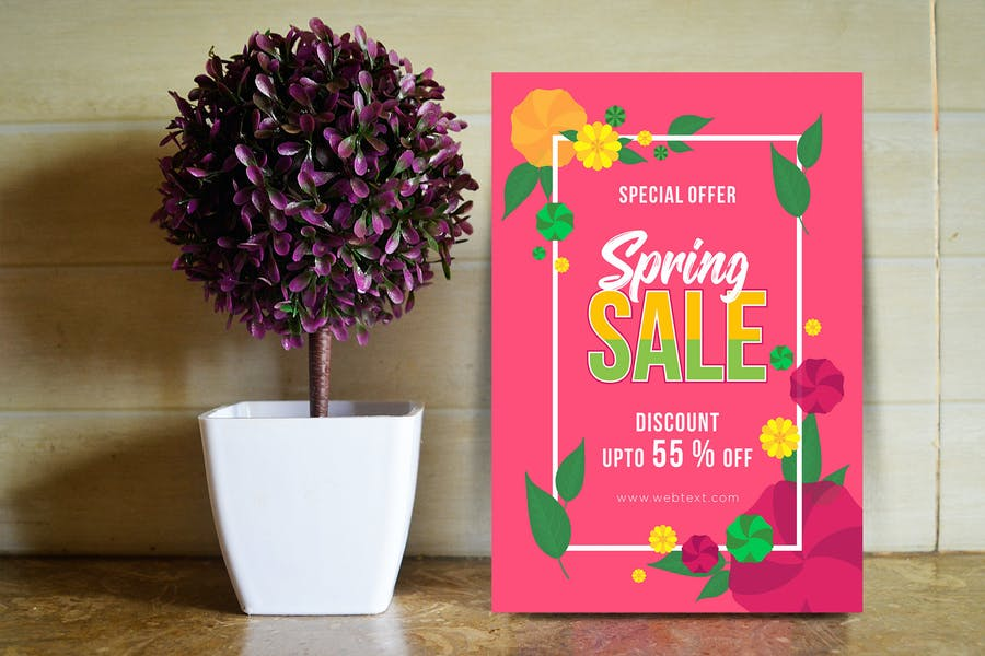Retro Pink Spring Poster with Floral Frame