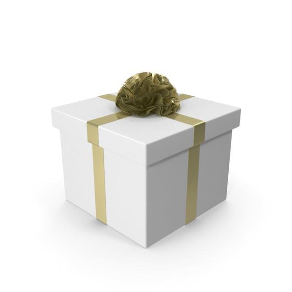 Thumbnail for Белая подарочная коробка с золотой лентой