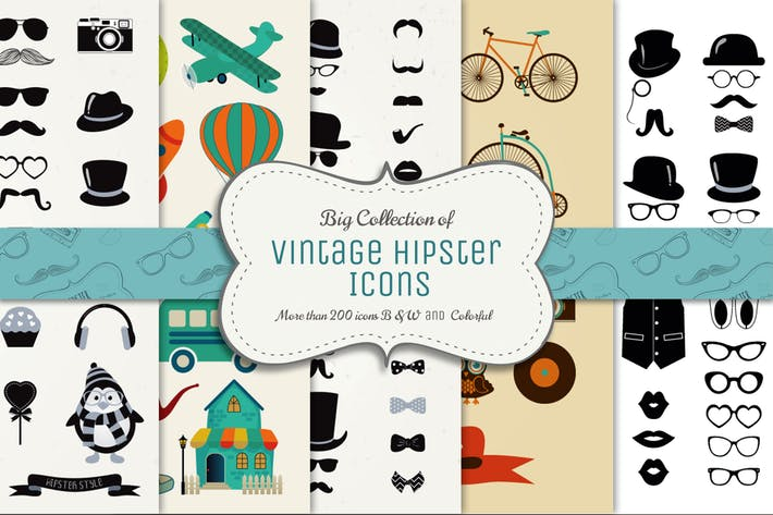 Thumbnail for Big Collection of Vector Vintage Icons
