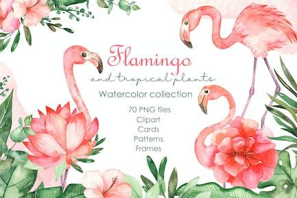 Aquarell Flamingos und tropische Pflanzen