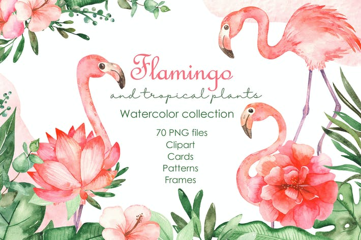 Thumbnail for Watercolor flamingos and tropical plants