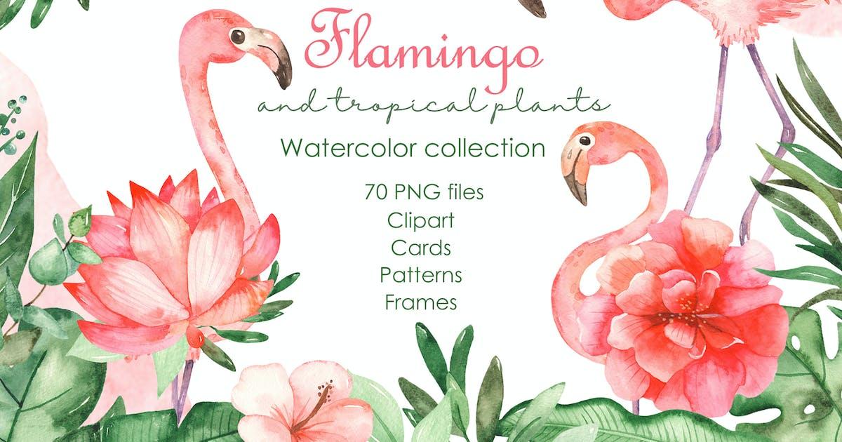 Download Watercolor flamingos and tropical plants by MarinaErmakova