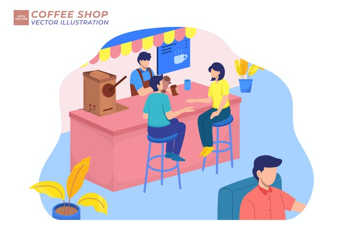 Coffe Shop Cafe Flat Illustration