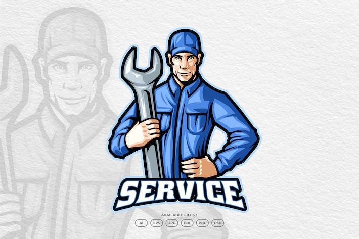Mechanic Automotive Service Mascot Logo Template