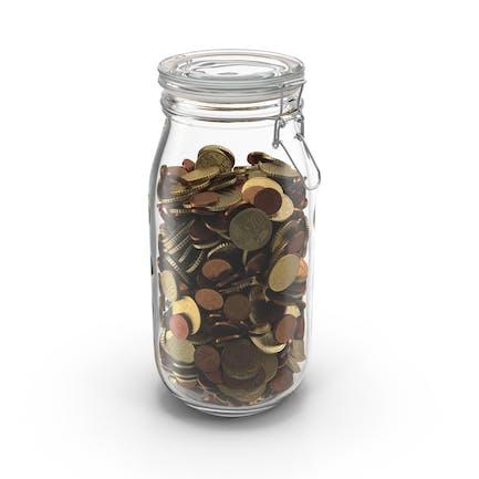 Glas mit Euro-Münzen