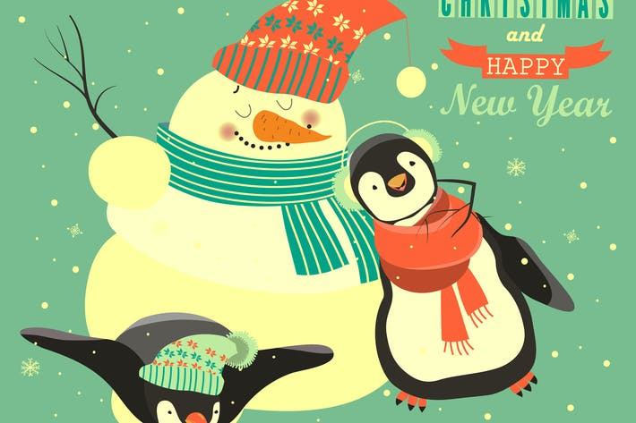 Thumbnail for Funny penguins with snowman celebrating Christmas