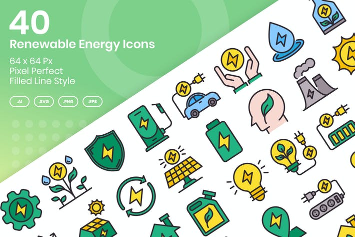 Thumbnail for 40 Renewable Enegy Icons Set - Filled Line