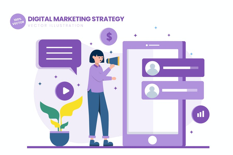 Digital Marketing Strategy Flat Illustration
