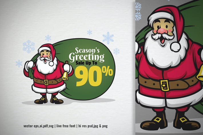 Thumbnail for cartoon santa claus with sale message promotion