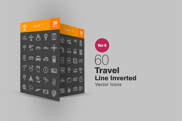 Thumbnail for 60 Travel Line Inverted Icons