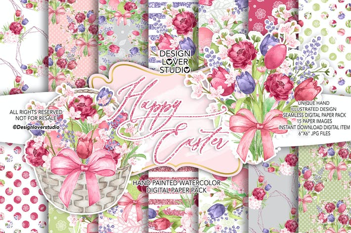 Thumbnail for Happy Easter Rustic digital paper pack