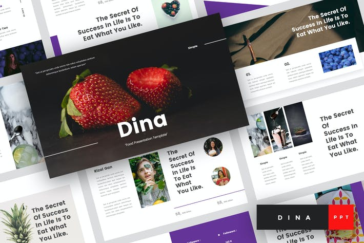 Thumbnail for Dina - Food PowerPoint Template