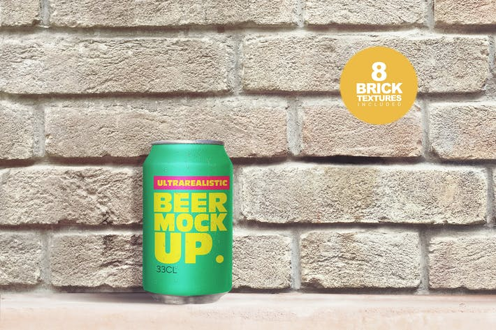 Thumbnail for Brick Backgrounds Beer Can Mockup