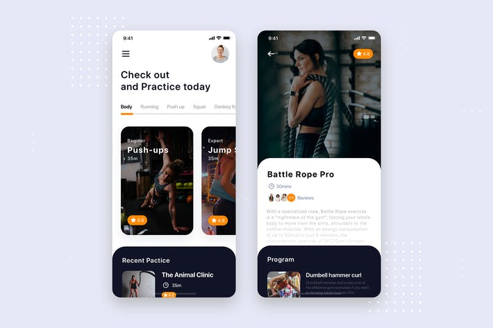 Cover Image For Fitness Training Mobile App UI Kit Template