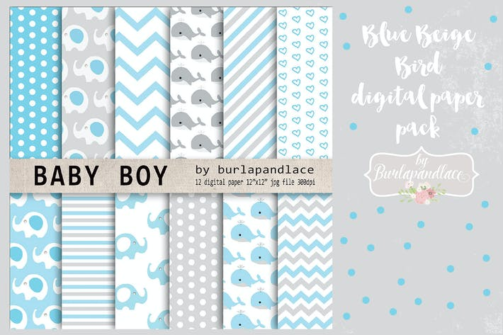 Cover Image For Baby boy digital paper pack