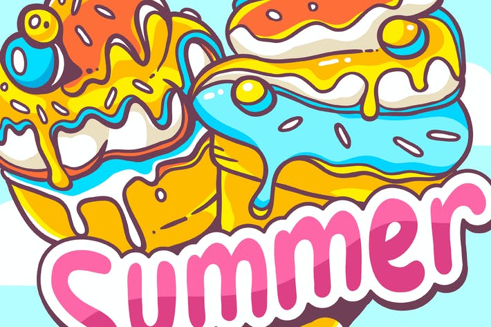 Cover Image For Summer ice creams and colorful pattern