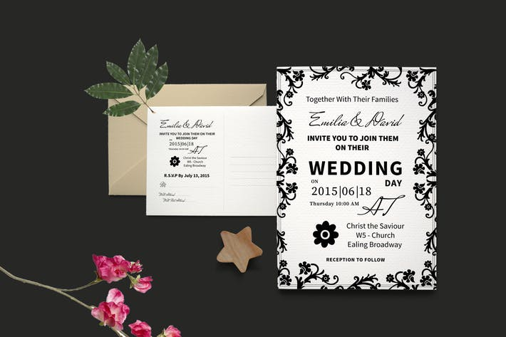 Thumbnail for DIY Typography Wedding Invite PSD Template