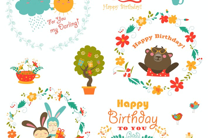 Thumbnail for Set of vector birthday elements with cute animals