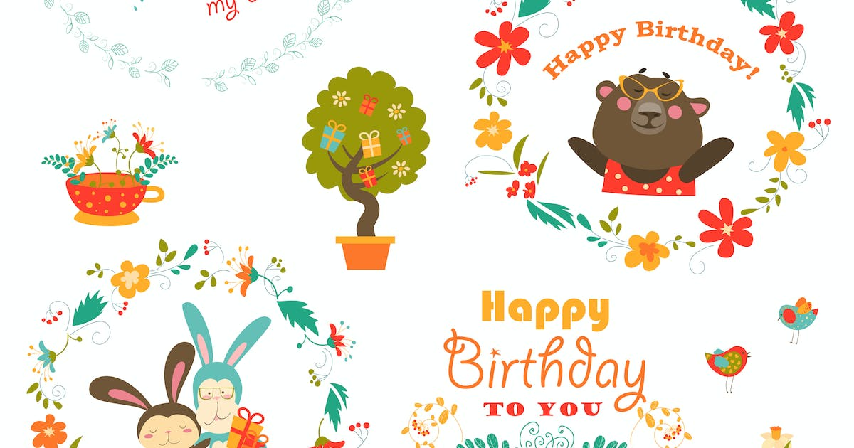 Download Set of vector birthday elements with cute animals by masastarus