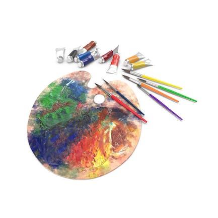 Messy Paint Palete mit Farbtuben