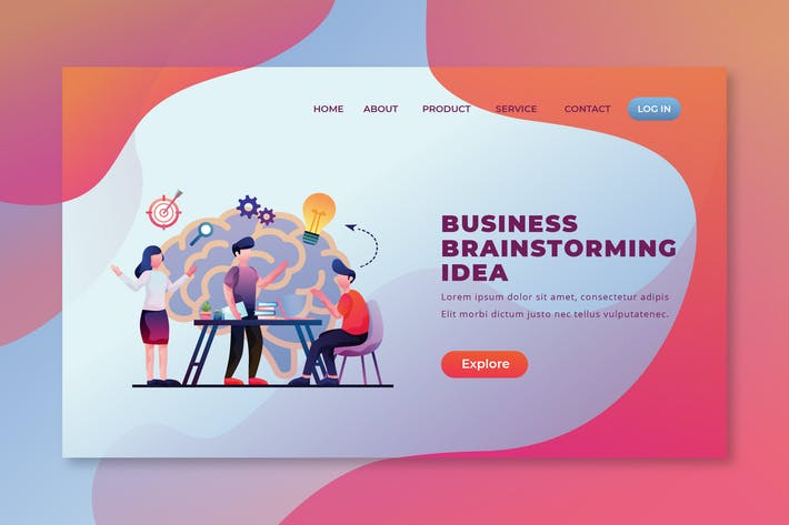 Thumbnail for Business Brainstorming - PSD und AI Landing Page