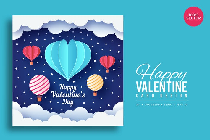 Thumbnail for Paper Art Valentine Square Vector Card Vol.5