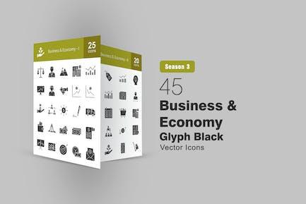 45 Glover-Glyphen-Icons für Unternehmen und