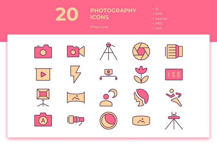 Thumbnail for 20 Photography Icons (Filled Line)