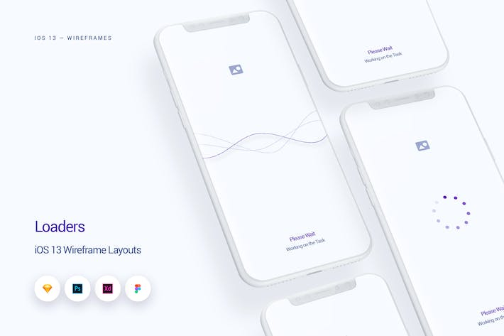 Thumbnail for Loaders - iOS 13 Wireframe Kit