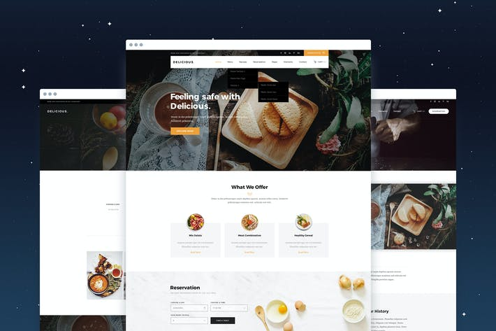 Cover Image For Delicious - Restaurant & Recipe PSD Template
